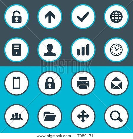 Set Of 16 Simple Application Icons. Can Be Found Such Elements As Upward Direction, Computer Case, User And Other.