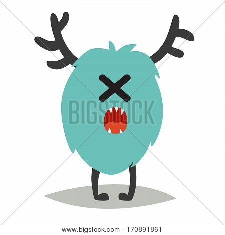 Emoji sad monster. Cute cyclop vector illustration. Cartoon funny emoticon. Monster sticker flat cartoon style. Isolated on white background