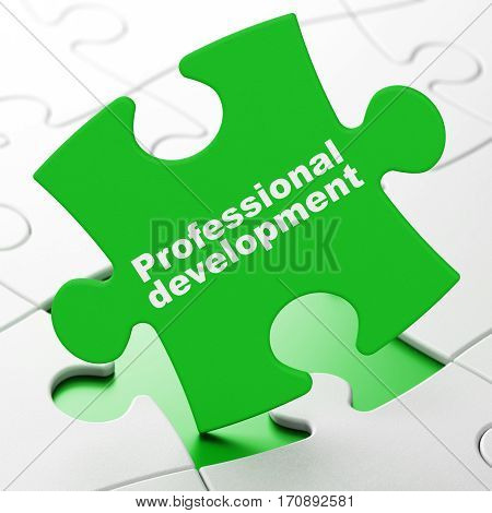 Studying concept: Professional Development on Green puzzle pieces background, 3D rendering