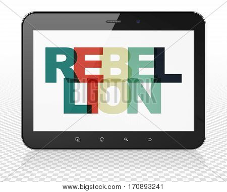 Politics concept: Tablet Pc Computer with Painted multicolor text Rebellion on display, 3D rendering