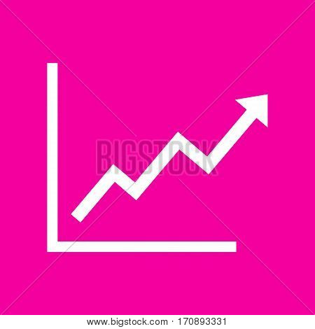 Growing bars graphic sign. White icon at magenta background.