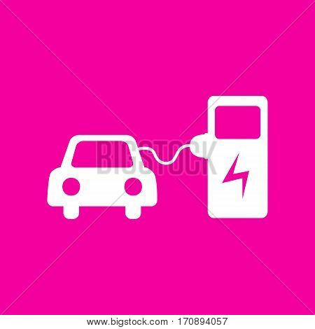 Electric car battery charging sign. White icon at magenta background.