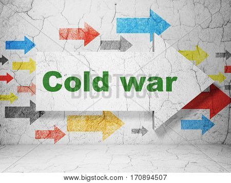 Political concept:  arrow with Cold War on grunge textured concrete wall background, 3D rendering