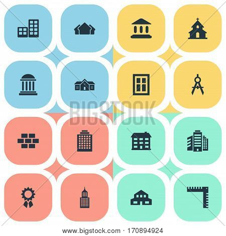 Set Of 16 Simple Structure Icons. Can Be Found Such Elements As Popish, School, Offices And Other.