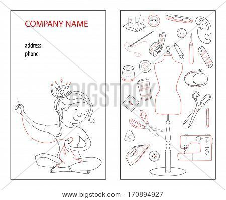 Sewing studio business card vector template Hand sewn concept Seamstress and sewing tools Thin line cartoon style