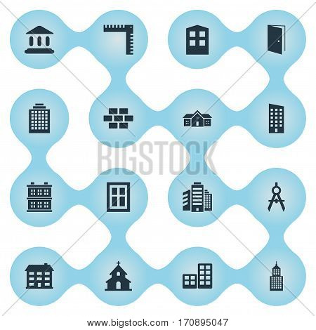 Set Of 16 Simple Architecture Icons. Can Be Found Such Elements As Block, Gate, Popish And Other.