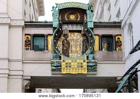 Figural musical clock Anker (german: Ankeruhr) in Art Nouveau style. Vienna, Austria. The Clock was built between 1911 and 1917 after the plans of the painter Franz von Matsch.
