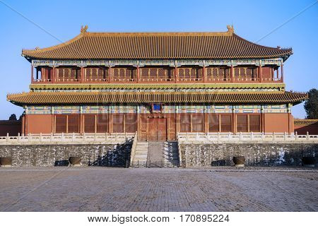 Image of beautiful imperial palace in the Forbidden City at Beijing China