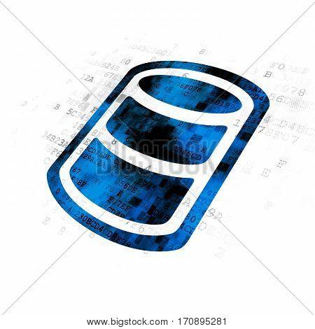 Database concept: Pixelated blue Database icon on Digital background