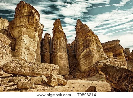 The Solomons Pillars geological attraction in Timna Park near to Eilat Israel. (HDR image with black gold filter)