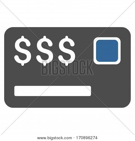Credit Card vector pictograph. Illustration style is a flat iconic bicolor cobalt and gray symbol on white background.