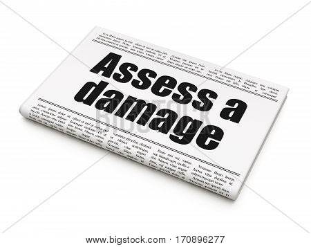 Insurance concept: newspaper headline Assess A Damage on White background, 3D rendering