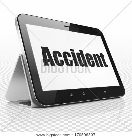 Insurance concept: Tablet Computer with black text Accident on display, 3D rendering