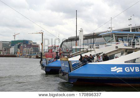 Netherlands Amsterdamjune 2016: Ferry between Amsterdam centre and Amsterdam North