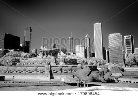 Buckingham fountain Chicago Infrared Black and White