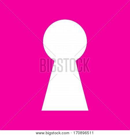 Keyhole sign illustration. White icon at magenta background.