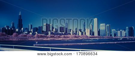 Chicago Skyline cityscape infrared color swap shot with full spectrum camera