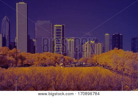 Infrared photography Chicago Lake Shore Drive looking north from museum campus color swap