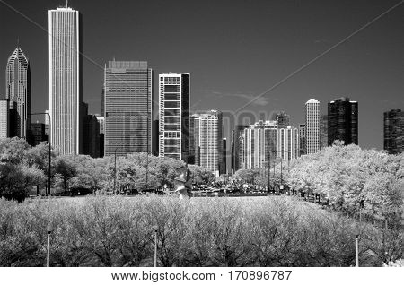 Infrared photography Chicago Lake Shore Drive looking north from museum campus black and white