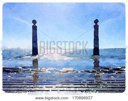 Digital watercolor painting of stone posts in the river by Lisbon Portugal on a sunny day with blue skies. With space for text.