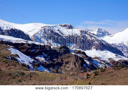Mountain landscape of Andes. The snowy peaks in Chile