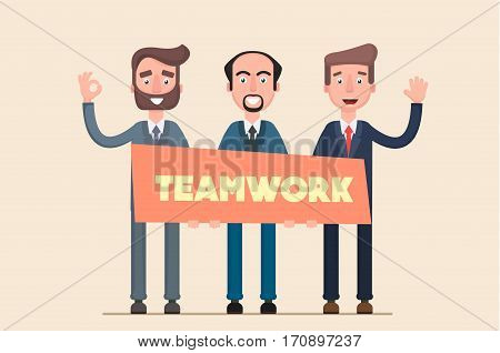 People work in the team stick together. Flat. Vector.