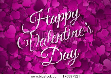 Happy Valentine's Day Vector illustration. Abstract Purple, Violet and Lilac Textured 3d Hearts and Text Background