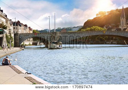 General View Of The Saone River At Sunset Lyon France