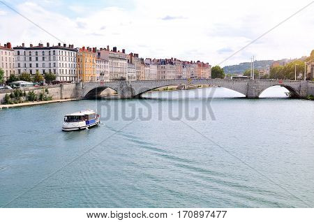 General View Of The Saone River Lyon France