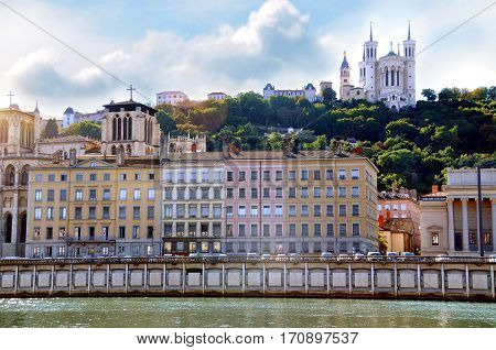 Saone River And Fourviere Basilica In The Background Lyon France