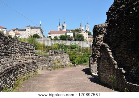 View Of Amphitheater With Fourviere Basilica Lyon France