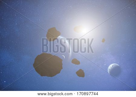 Planets and asteroids in the Milky Way.
