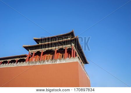 Image of ancient imperial palace with high wall in Forbidden City at Beijing China