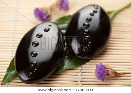 spa stones with water drops over fresh leaf