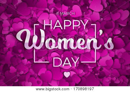Happy Women's Day Vector illustration. Abstract Purple, Violet and Lilac Textured 3d Hearts and Text Background