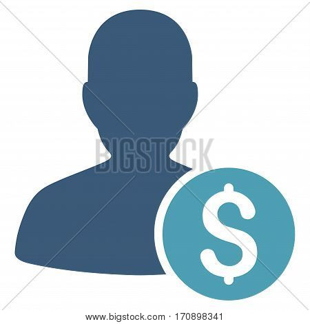 Investor vector pictograph. Illustration style is a flat iconic bicolor cyan and blue symbol on white background.