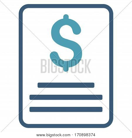 Invoice Budget vector pictograph. Illustration style is a flat iconic bicolor cyan and blue symbol on white background.