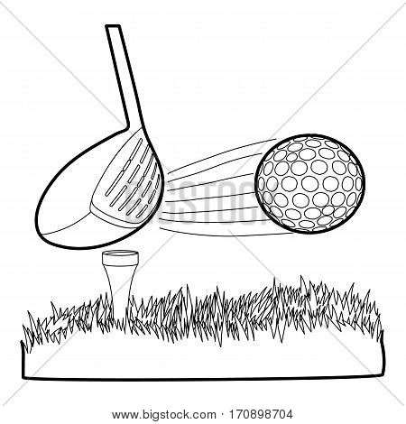 Hit golf ball icon. Outline illustration of hit golf ball vector icon for web