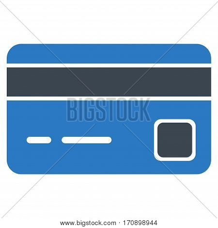Bank Card vector icon. Illustration style is a flat iconic bicolor smooth blue symbol on white background.