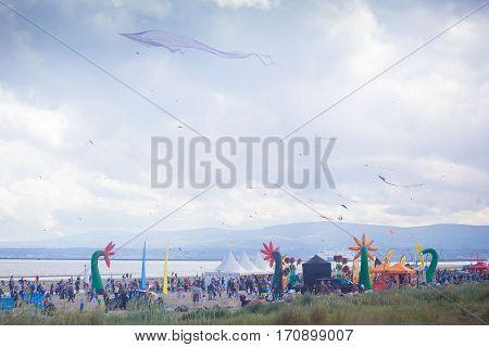 Kite festival on bull island in Ireland, flying kites, fun activities