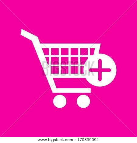 Shopping Cart with add Mark sign. White icon at magenta background.