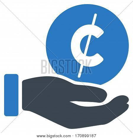 Cent Payment Hand vector pictograph. Illustration style is a flat iconic bicolor smooth blue symbol on white background.