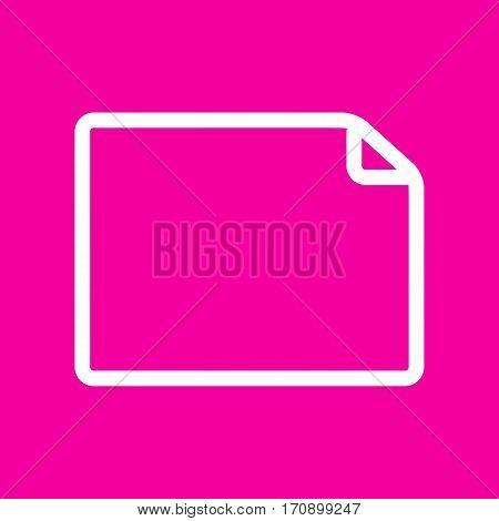 Horisontal document sign illustration. White icon at magenta background.