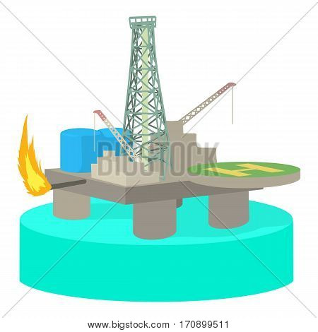 Oil platform icon. Cartoon illustration of oil platform vector icon for web