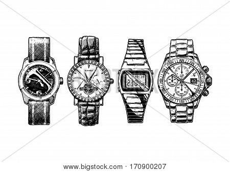 Vector hand drown illustration set of men wristwatches. Mechanical and digital wrist watches watch with diamonds and tourbillon and chronograph.