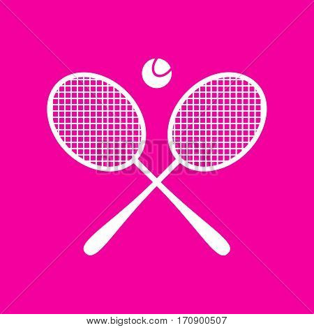 Tennis racket sign. White icon at magenta background.