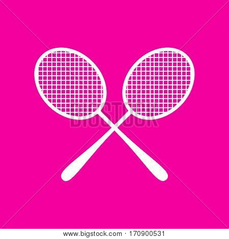 Tennis racquets sign. White icon at magenta background.