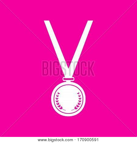 Medal simple sign. White icon at magenta background.