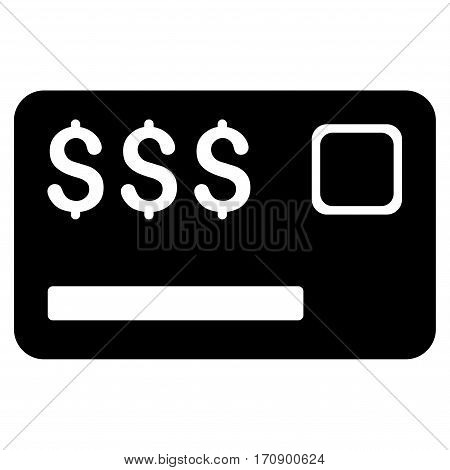 Credit Card vector icon. Illustration style is a flat iconic black symbol on white background.
