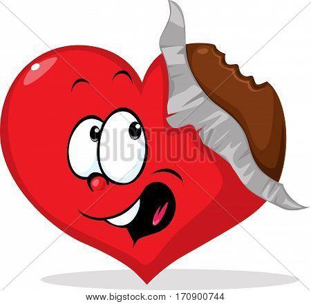 unpacked eaten chocolate heart - vector illustration